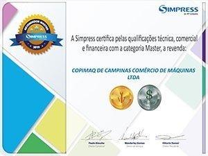 Certificado revenda master Simpress
